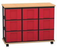 Flexeo Containersystem mit Ablage, 9 grosse Boxen 3 Reihen, fahrbar, HxBxT: 72,8 x 90,5 x 38,5 cm