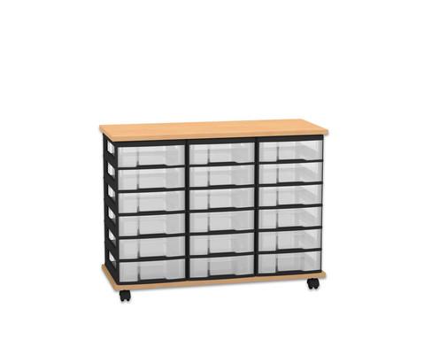Fahrbares Flexeo Containersystem mit Ablage und 18 kleinen Boxen