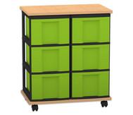 Flexeo Containersystem mit Ablage, 6 grosse Boxen 2 Reihen, fahrbar, HxBxT: 73 x 60 x 38 cm