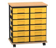 Fahrbares Flexeo Containersystem mit Ablage und 12 kleinen Boxen