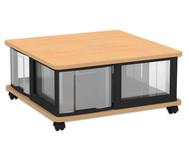 Flexeo Containersystem mit Ablage, 4 grosse Boxen, fahrbar, HxBxT: 32,7 x 71 x 71 cm
