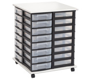 Fahrbares Flexeo Containersystem mit Ablage und 32 kleinen Boxen