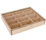 Holz-Sortierbox mit 12 Innenfächern