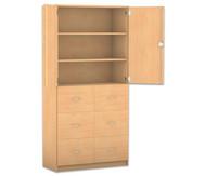 Flexeo Hochschrank, 6 grosse Holzschubladen, 2 Fachböden, oben 2 Drehtüren