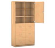 Flexeo Hochschrank mit Sockel, 6 grosse Holzschubladen, mit Mittelwand, oben 2 Türen