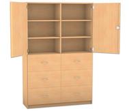 Flexeo Hochschrank mit Sockel, 6 grosse Holzschubladen, mit Mittelwand, oben 2 Türen, HxB: 190 x 126,4 cm