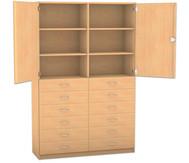 Flexeo Hochschrank mit 6 Fächern, 12 breiten Holzschubladen und Türen