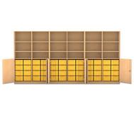 Flexeo Systemschrankwand Antares, 18 Fächer mit 48 grosse Boxen