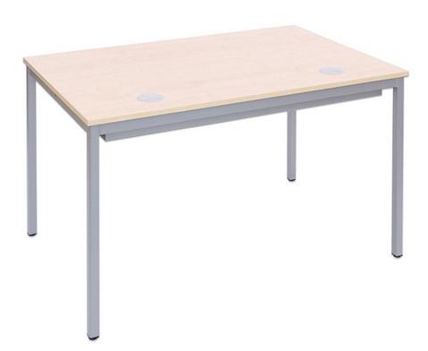 EDV-Tisch mit Blechkanal Vierkantrohr Tischbeine BxT 80 x 80 cm