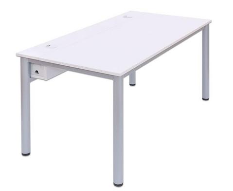 EDV-Tisch mit Kabelkanal Rundrohr Tischbeine BxT 200x80 cm