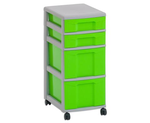 Flexeo Rollcontainer mit 3 grossen 2 kleinen Boxen-3