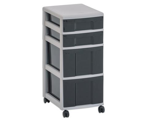 Flexeo Rollcontainer mit 3 grossen 2 kleinen Boxen-6