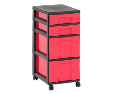 Flexeo Rollcontainer mit 3 grossen 2 kleinen Boxen-36