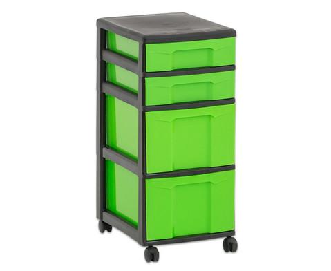 Flexeo Rollcontainer mit 3 grossen 2 kleinen Boxen-24