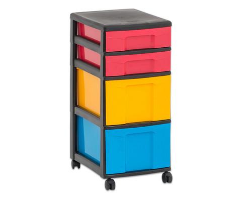 Flexeo Rollcontainer mit 3 grossen 2 kleinen Boxen-13