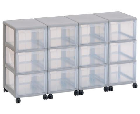 Flexeo Container-System 4 Reihen 12 grosse Boxen HxBxT 66x120x38 cm-1