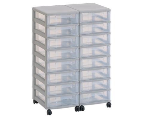 Flexeo Container-System 2 Reihen 16 kleine Boxen HxBxT 66x60x38 cm-11