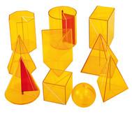 10-teiliger Satz Geometriekörper aus Plexiglas
