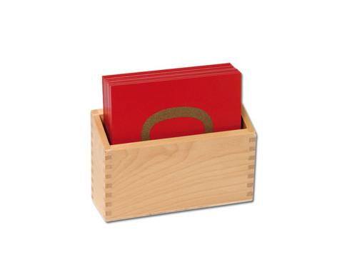Fuehl- und Tastplatten Ziffern in Holzbox