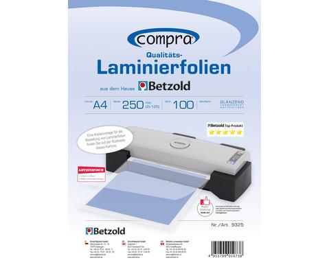 Karton mit 100 Compra Laminierfolien DIN A4 250 mic