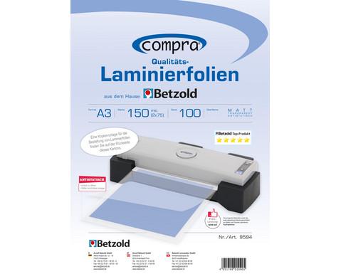 Karton mit 100 Compra Laminierfolien matt DIN A3 150 mic