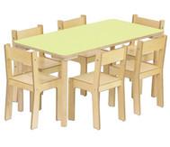 Baccus 7 tlg. Möbelset, Rechtecktisch (60cm breit) Tischhöhe 46 cm, Sitzhöhe 26 cm