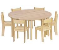 8-tlg. Möbelset Baccus mit 2 Halbrundtischen - Tischhöhe 52 cm