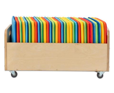 Betzold Mobiler Kissenwagen mit 32 quadratischen Sitzkissen