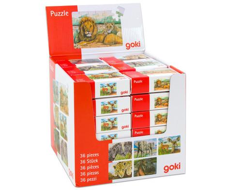 Minipuzzle Wilde Tiere 36 Stueck sortiert