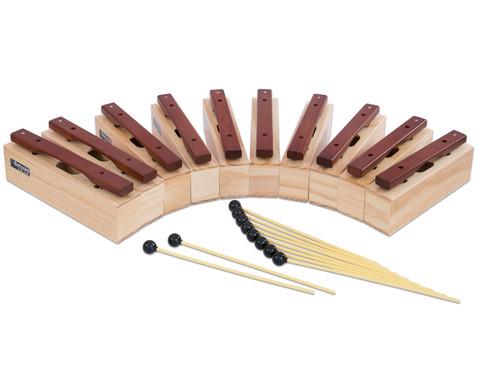 Satz mit 10 Alt-Klangbausteinen und 10 Schlaegeln Hartholz