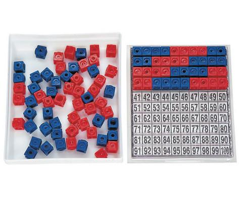 Steckwuerfel-Multibox mit 100 Stueck rot-blau