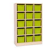 Garderoben-Fachregale CHIPPO, mit grünen Boxen