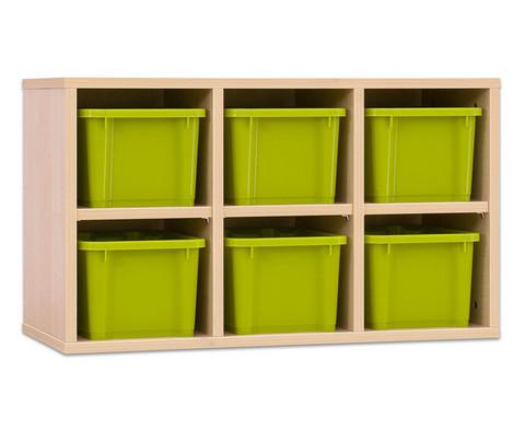 Garderoben-Haengeregale CHIPPO mit gruenen Boxen-1