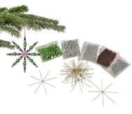Drahtsterne-Set, Silber-Braun-Grün