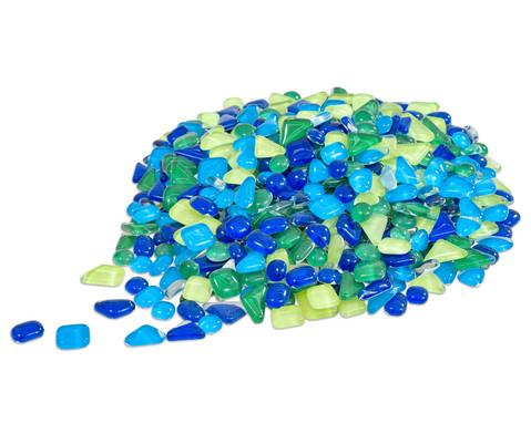 Mosaiksteine Softglas gruen-blau 200g