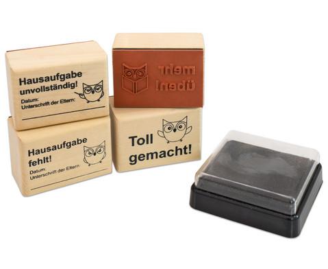 Betzold Hausaufgaben-Stempel 4 Stueck inkl Stempelkissen