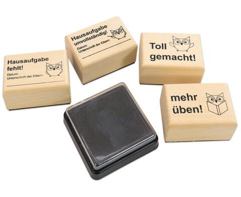 Hausaufgaben-Stempel 4 Stueck im Set inkl Stempelkissen-3