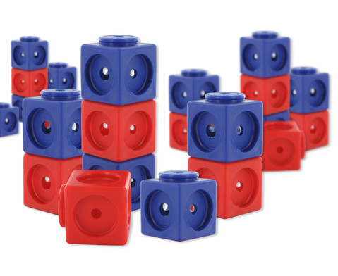 Riesensteckwuerfel-Set magnetisch 40 Stueck rot-blau