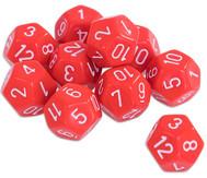 Zwölfflächige Schulwürfel, Rot - Set mit 10 Stück