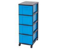 IRIS Schubladenbox mit Rollen, schwarz / blau (4 große Schubladen)